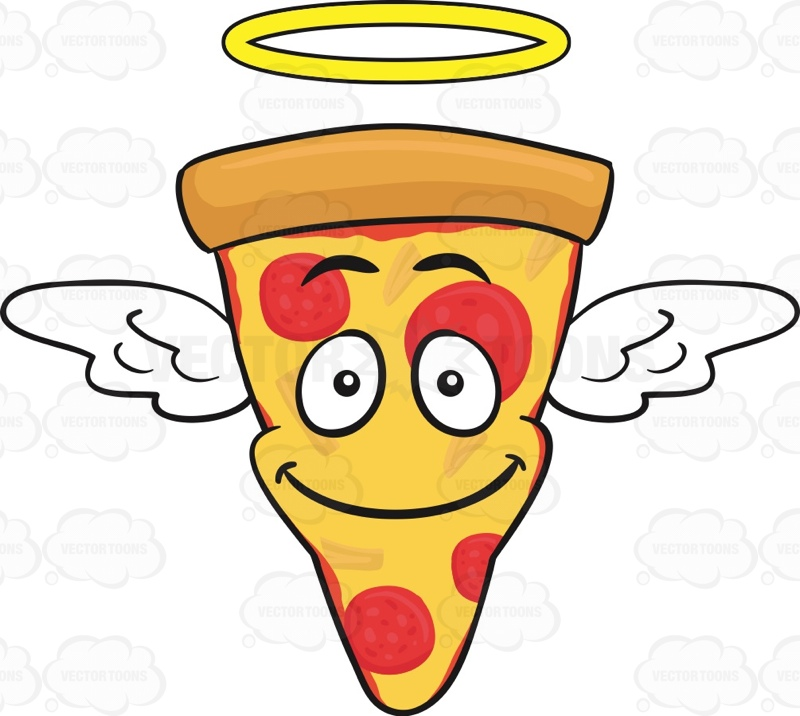 800x716 Smiling Slice Of Pepperoni Pizza With Halo And Wings Emoji Cartoon