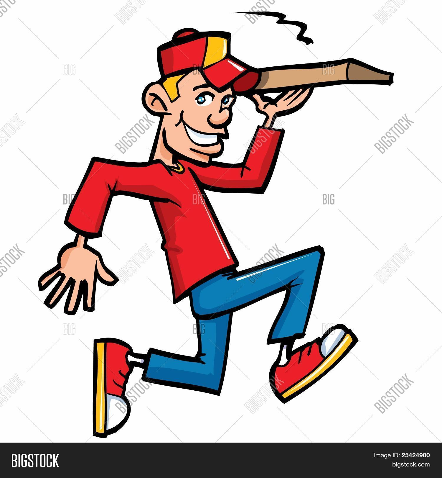 1500x1620 Cartoon Of Pizza Running Delivery Boy Image