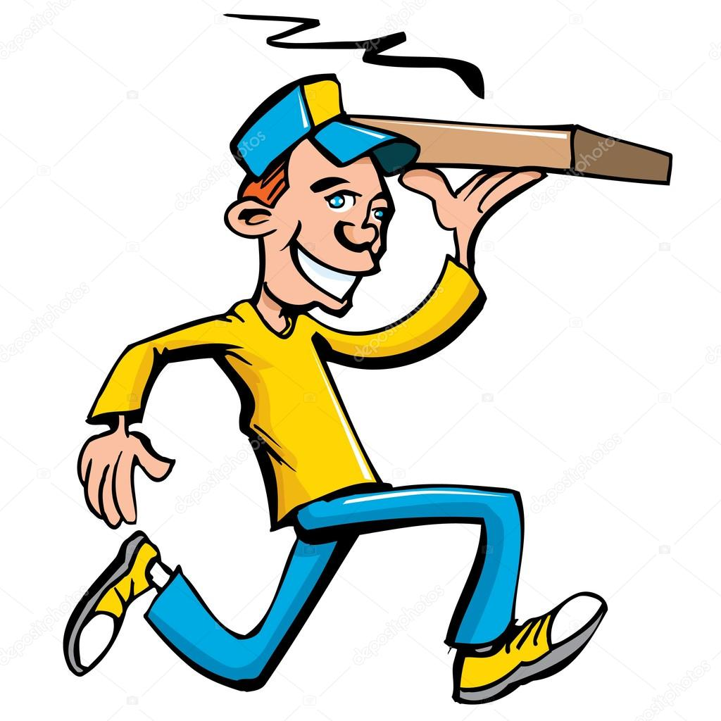 1024x1024 Cartoon Of Pizza Running Delivery Boy Stock Vector Antonbrand