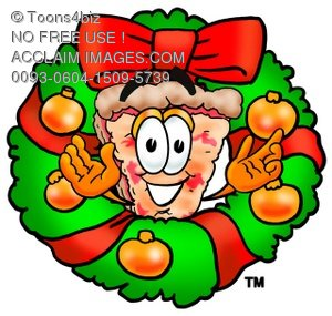 300x285 Clipart Image Of A Cartoon Pizza Character With A Christmas Wreath