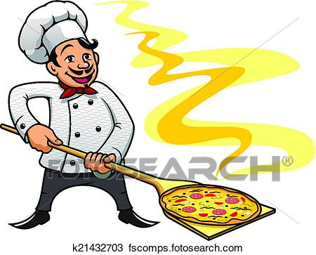 450x363 Clipart Of Cartoon Baker Chef Cooking Pizza K21432703
