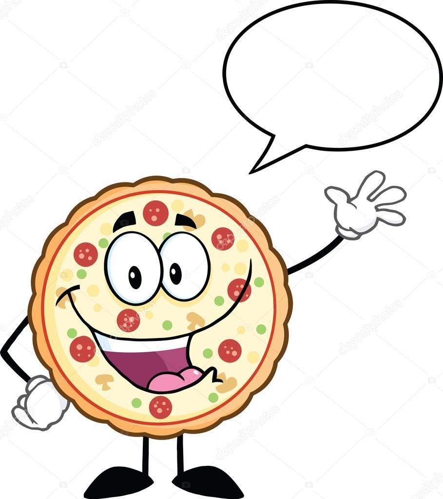 909x1023 Funny Pizza Cartoon Mascot Character Waving With Speech Bubble