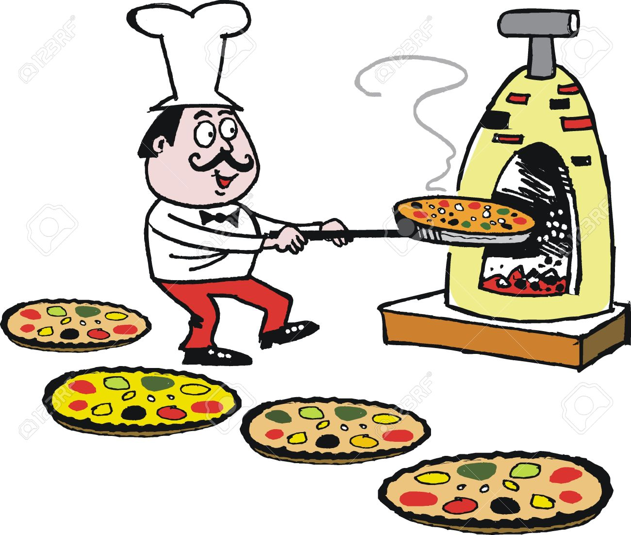 1300x1102 Vector Cartoon Of Chef Making Pizzas In Oven Royalty Free Cliparts