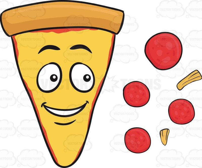 800x667 Deconstructed Slice Of Pepperoni And Cheese Pizza Emoji Cartoon