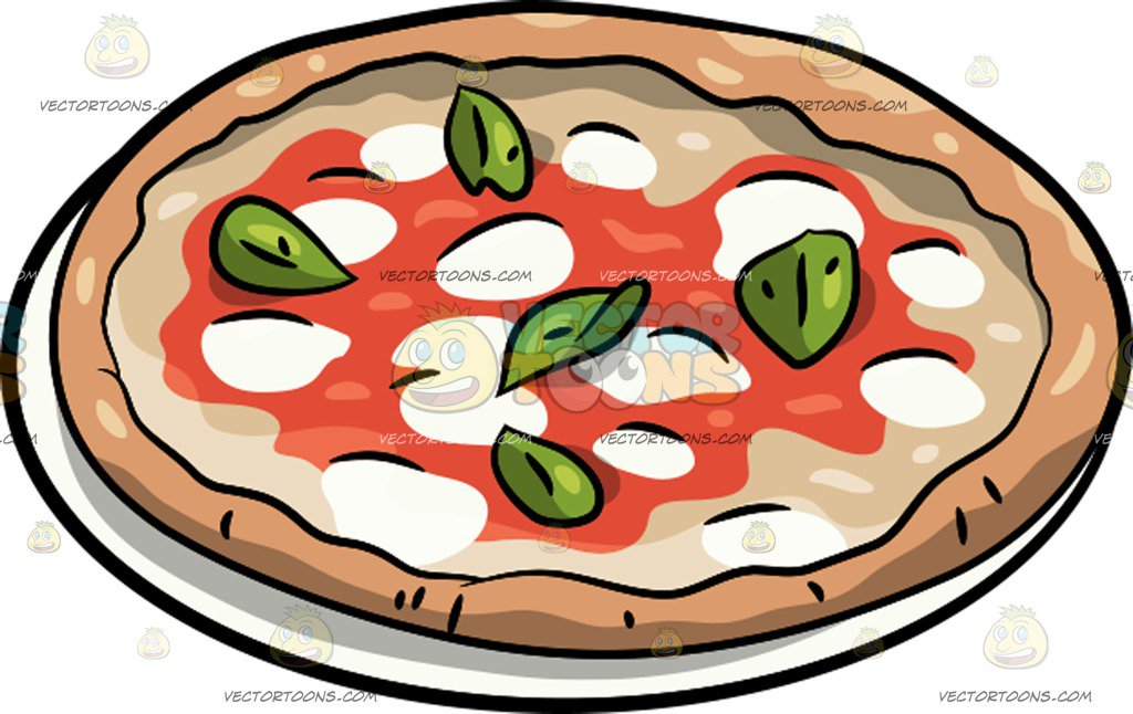 1024x646 A Whole Pizza Margherita Cartoon Clipart