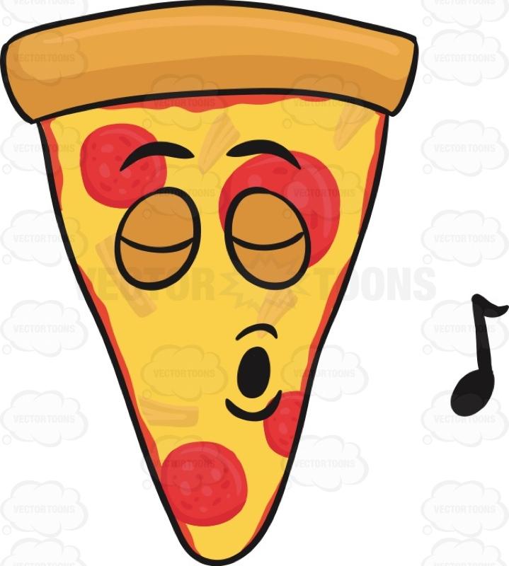719x800 Slice Of Pepperoni Pizza Singing With Pleasure Emoji Cartoon