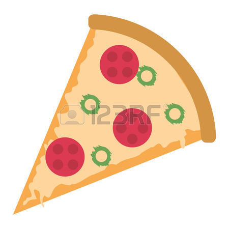 450x450 Salami Pizza Slice. Clip Art Illustration With Simple Gradients