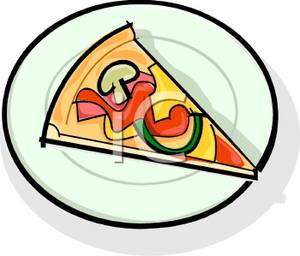 300x256 Slice Of Combination Pizza On A Plate Clipart Image