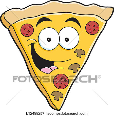 450x458 Clip Art Of Cartoon Pizza Slice K12498257