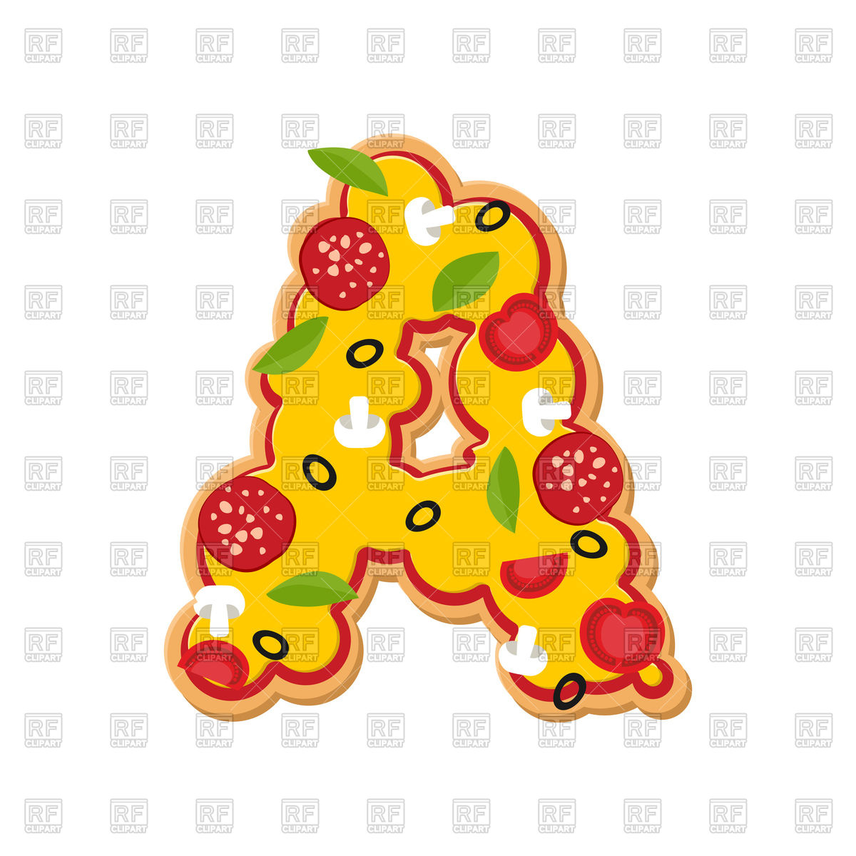 1200x1200 Letter A Pizza Font Royalty Free Vector Clip Art Image