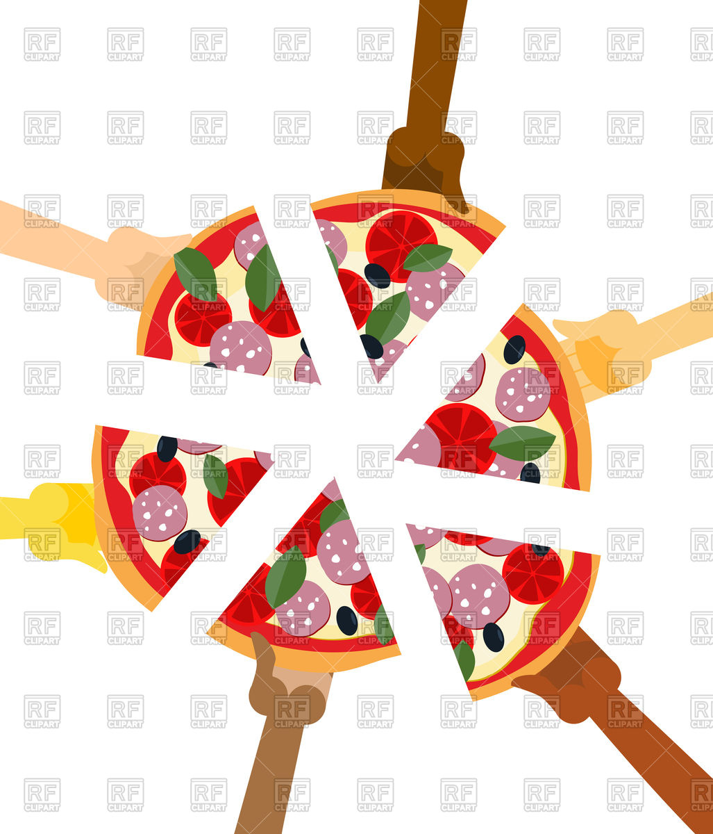 1027x1200 People Eating Pizza. Hands Holding Slice Of Pie. Royalty Free