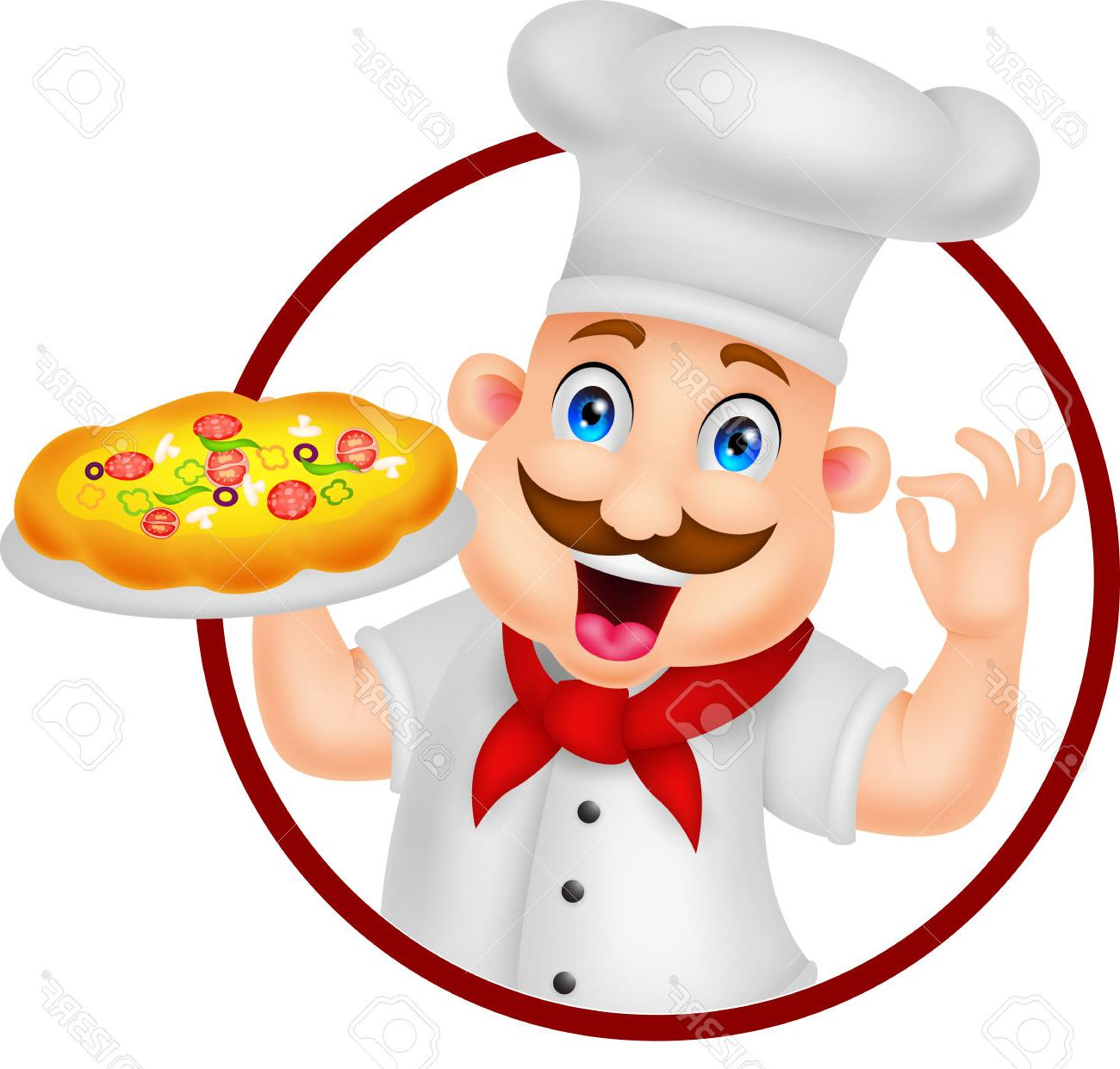 1300x1241 Best 15 Cartoon Chef Character With Pizza Stock Vector Design