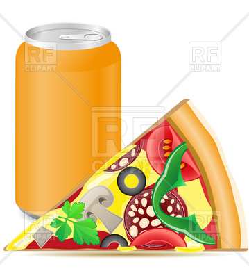 359x400 Pizza And Aluminum Cans With Soda Royalty Free Vector Clip Art
