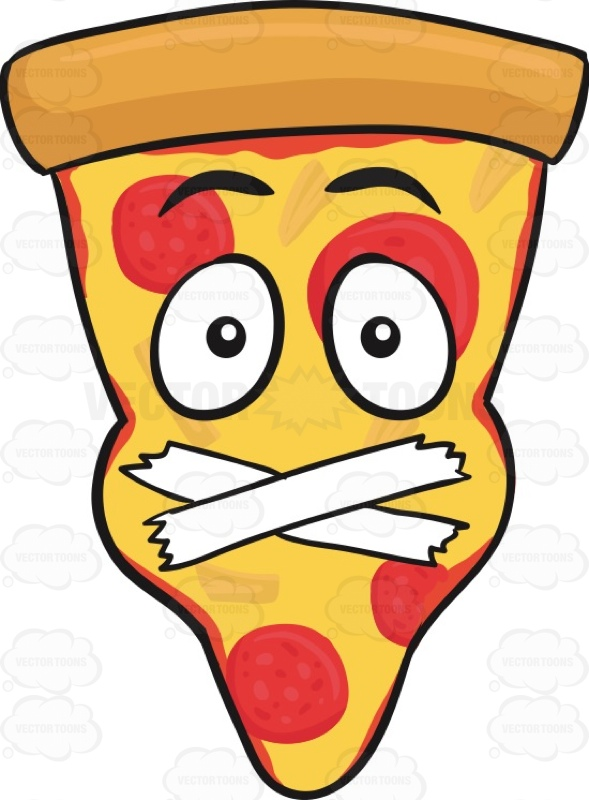 589x800 Slice Of Pepperoni Pizza Face With Taped Mouth Emoji Vector