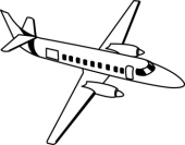 170x133 Free Black And White Aircraft Outline Clipart