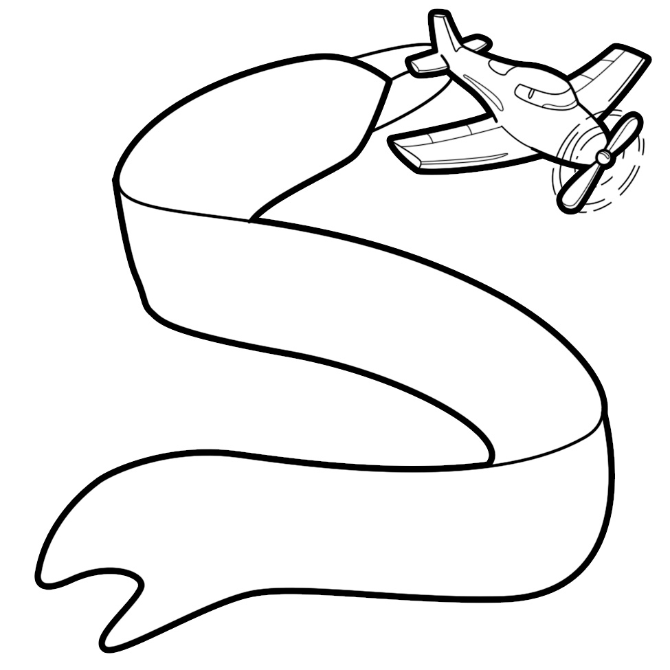 975x975 Free Black And White Plane With Banner Clipart