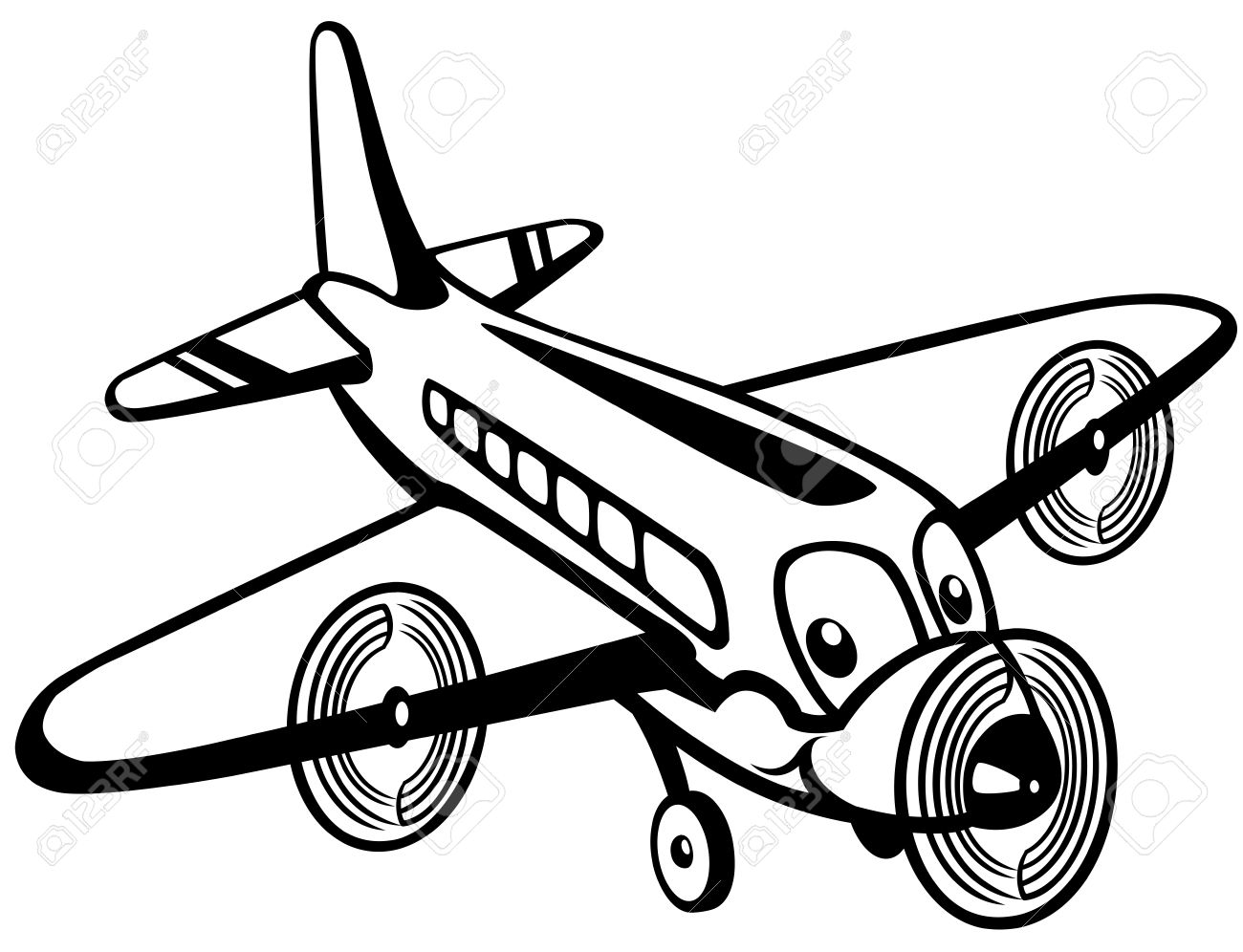 1300x996 Toy Plane Clipart Black And White