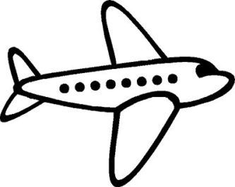 333x266 Airplane Clipart Black And White
