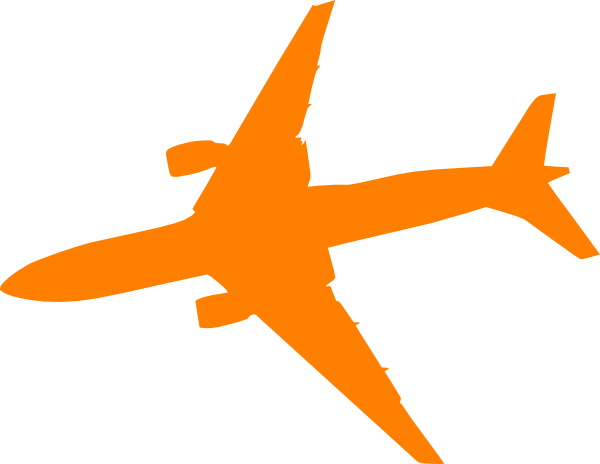 600x464 Orange Plane Clip Art