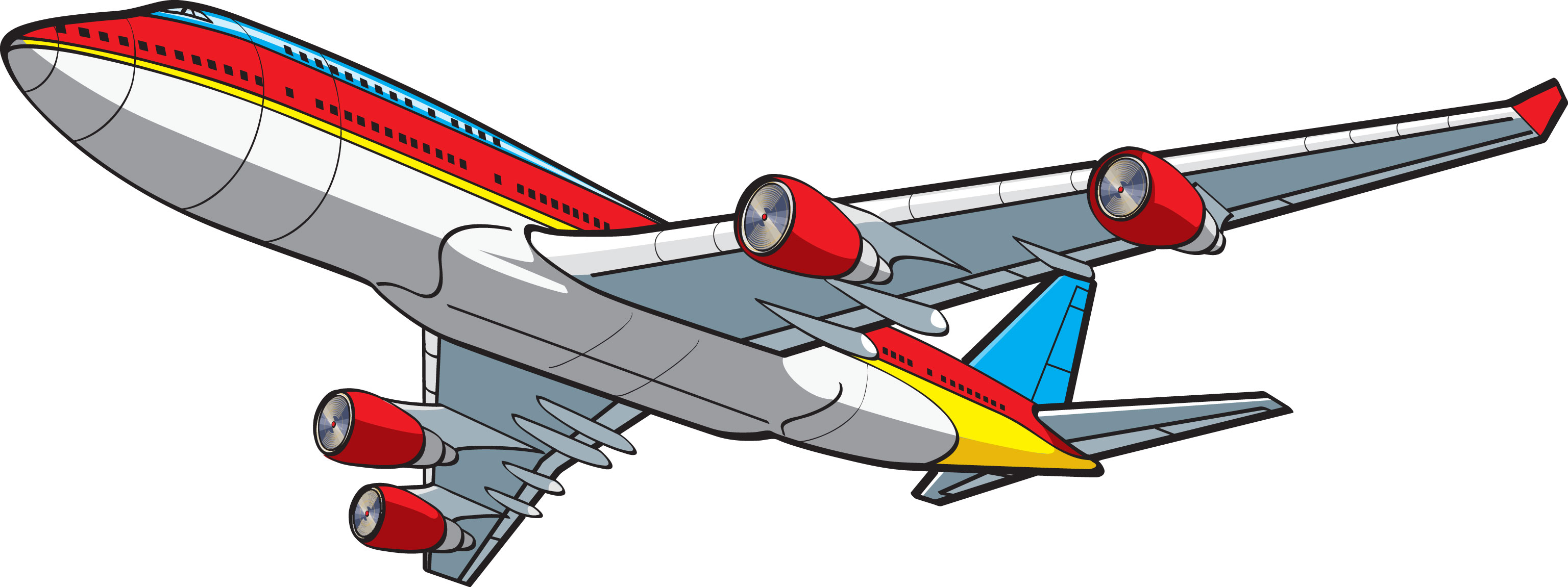 3072x1151 Cartoon Airplane Clipart Kid