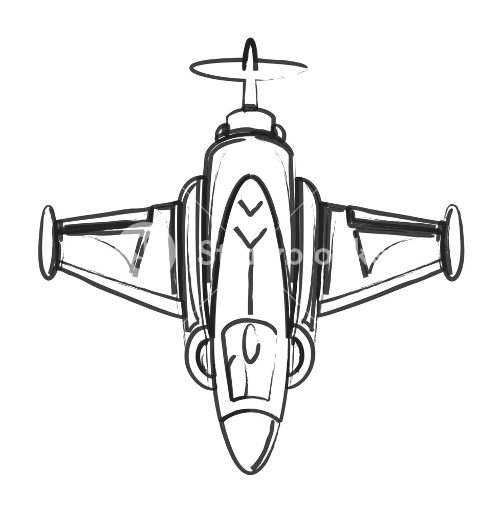 979x1000 Drawing Art Of Fighter Plane Royalty Free Stock Image