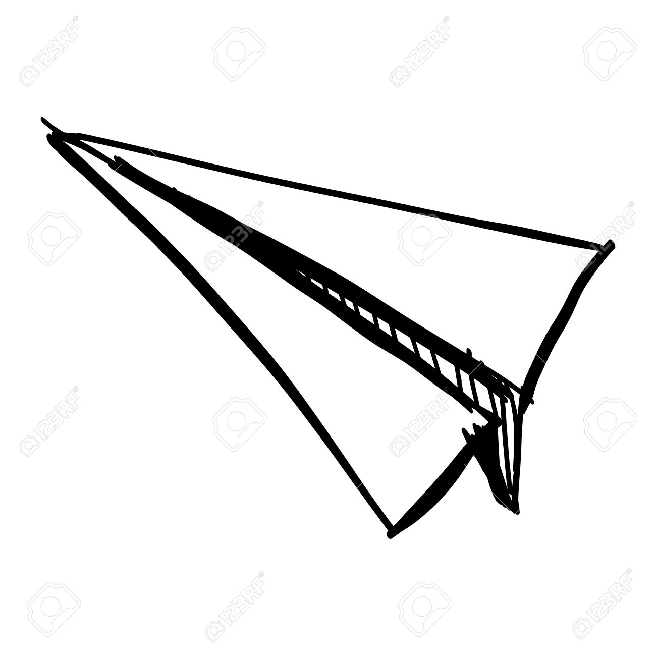 1300x1300 Paper Plane Icon Isolated On White. Hand Drawing Sketch Vector