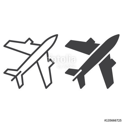 500x500 Plane, Airport Line And Solid Icon, Outline And Filled Vector Sign