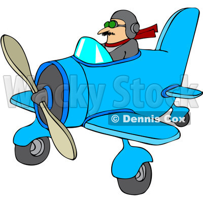 400x400 Free Vector Clip Art Illustration Of A Pilot Flying A Little Plane