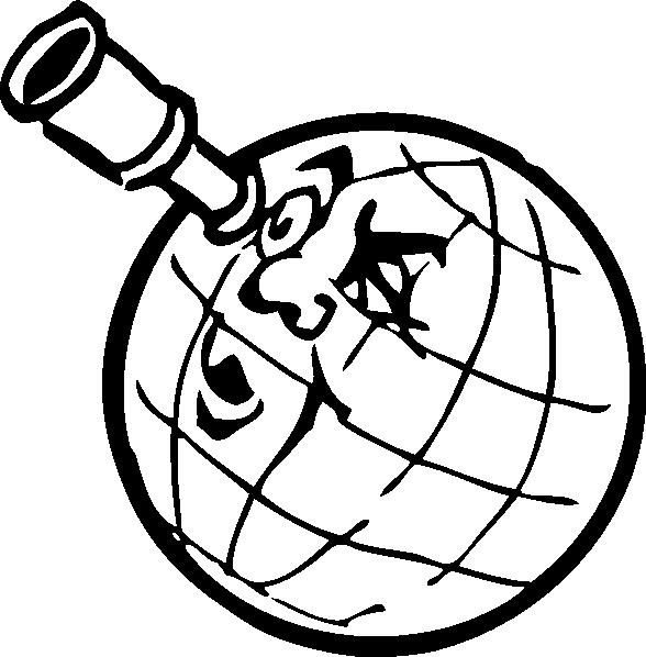 588x598 Planet With Spyglass Clip Art