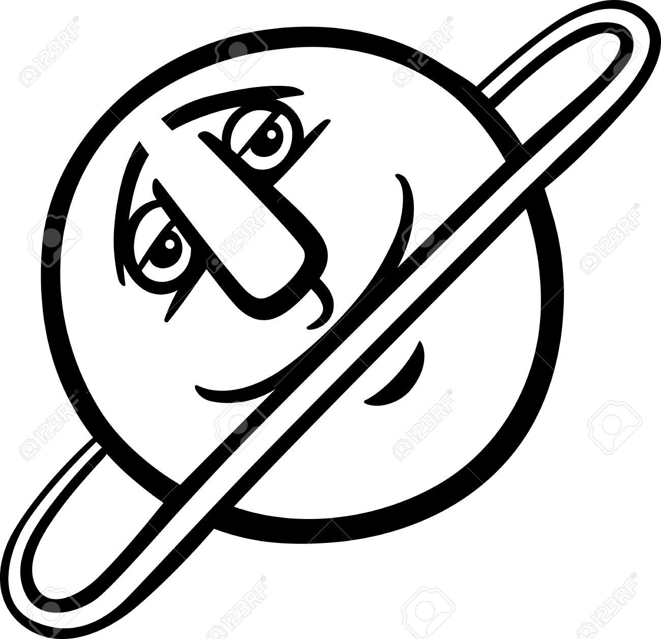 1300x1257 Black And White Cartoon Illustration Of Funny Uranus Planet Comic