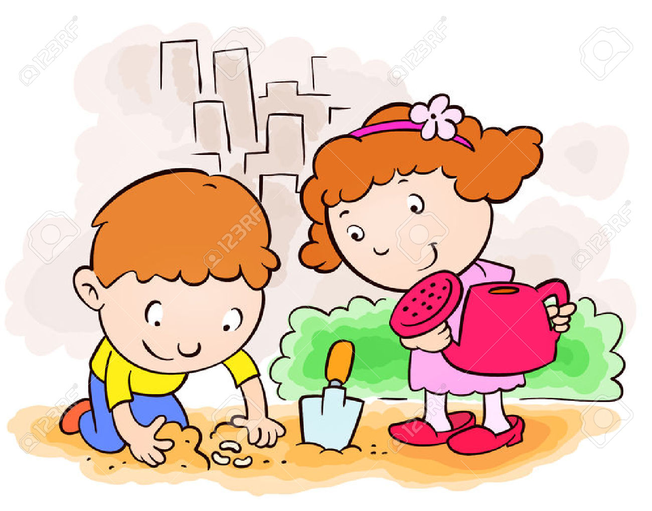 1300x1020 Children Planting Clipart