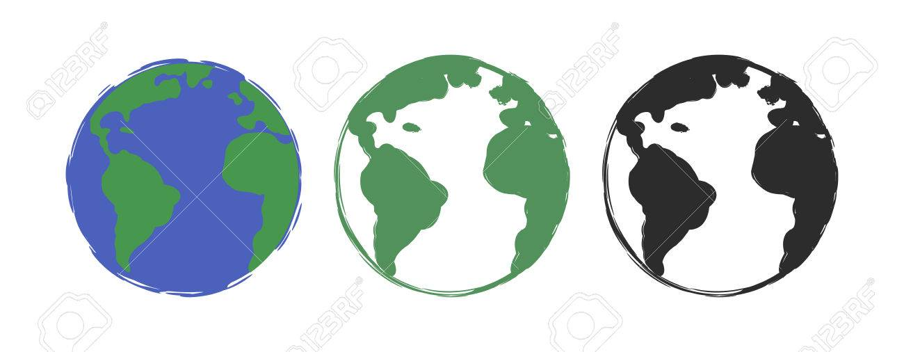 1300x506 Planet Earth Grunge Scratched Drawing Paint Icons. Vector Color