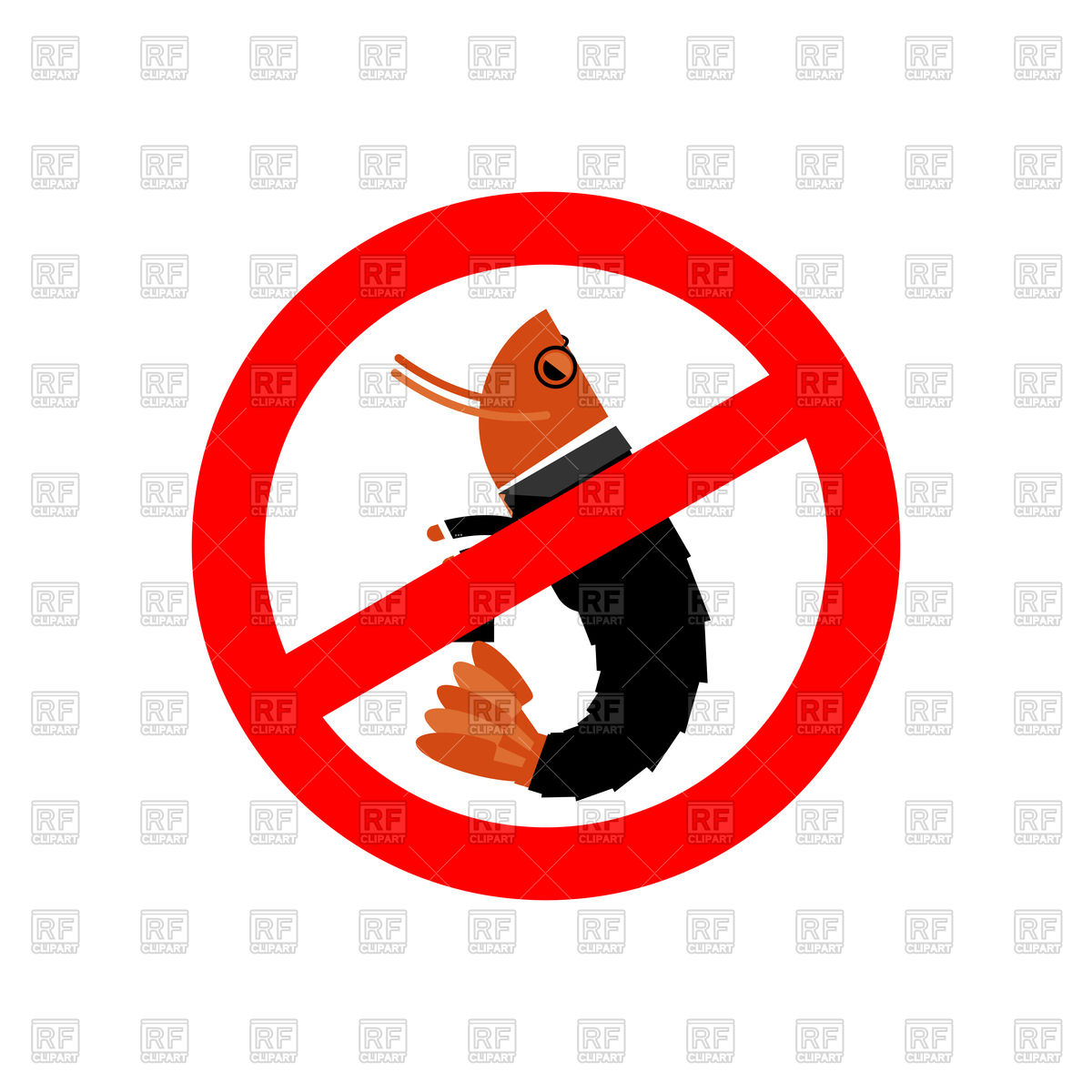 1200x1200 Stop Office Plankton Sign, Prohibited Shrimp In Suit Royalty Free