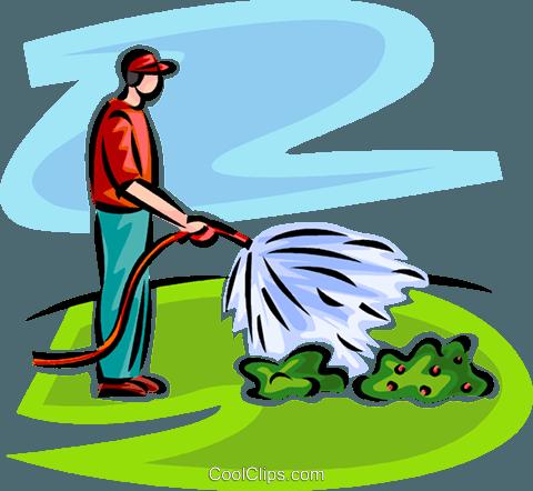 480x442 Man Watering Plants Royalty Free Vector Clip Art Illustration