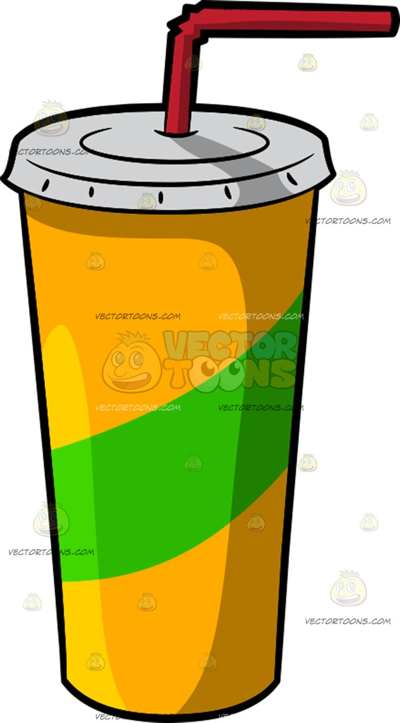 567x1024 A Plastic Cup With Straw Cartoon Clipart