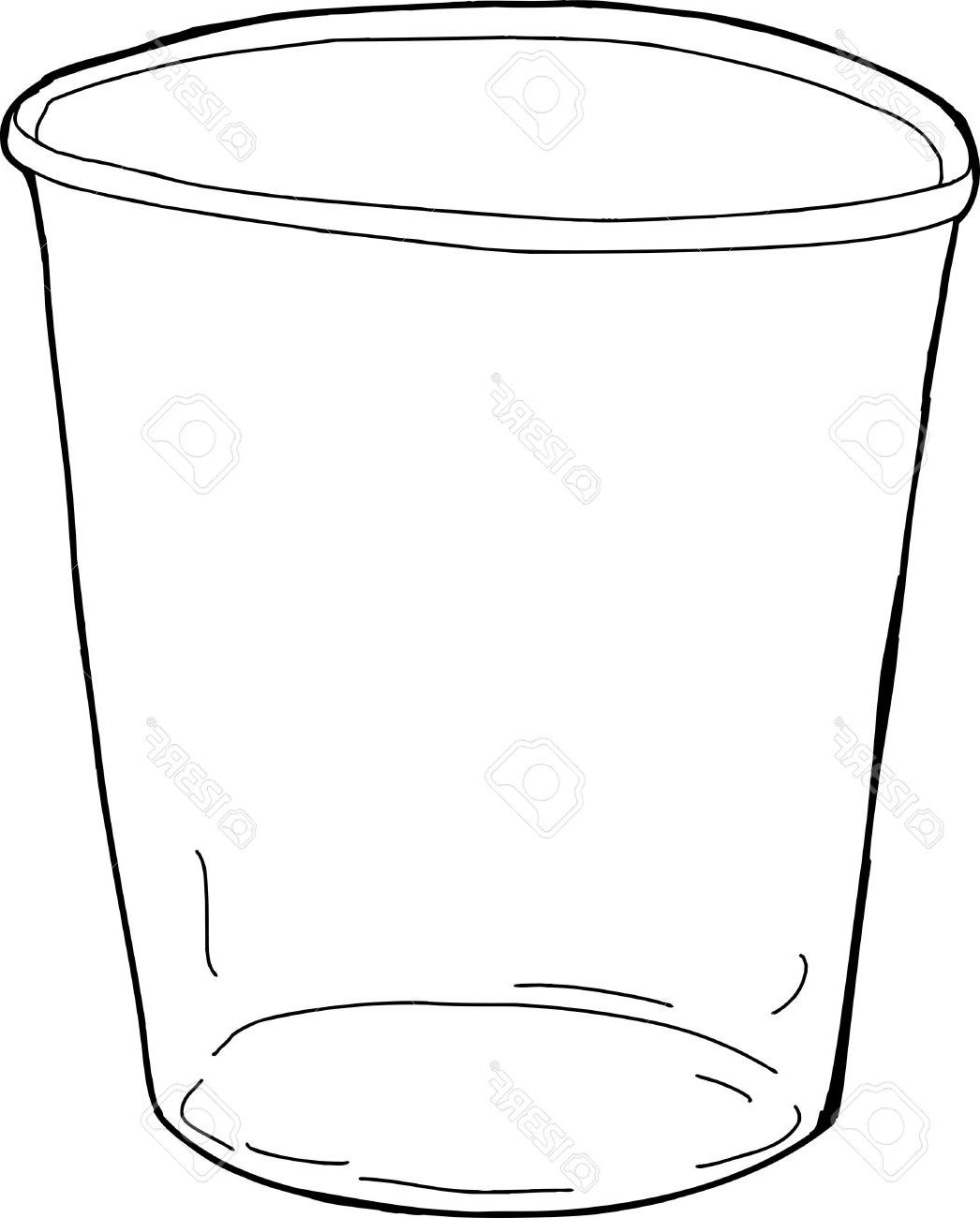 1046x1300 Unique Cartoon Outline Of Empty Plastic Cup Over White Stock