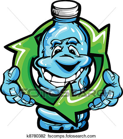 417x470 Clipart Of Happy Cartoon Plastic Water Bottle K8780382