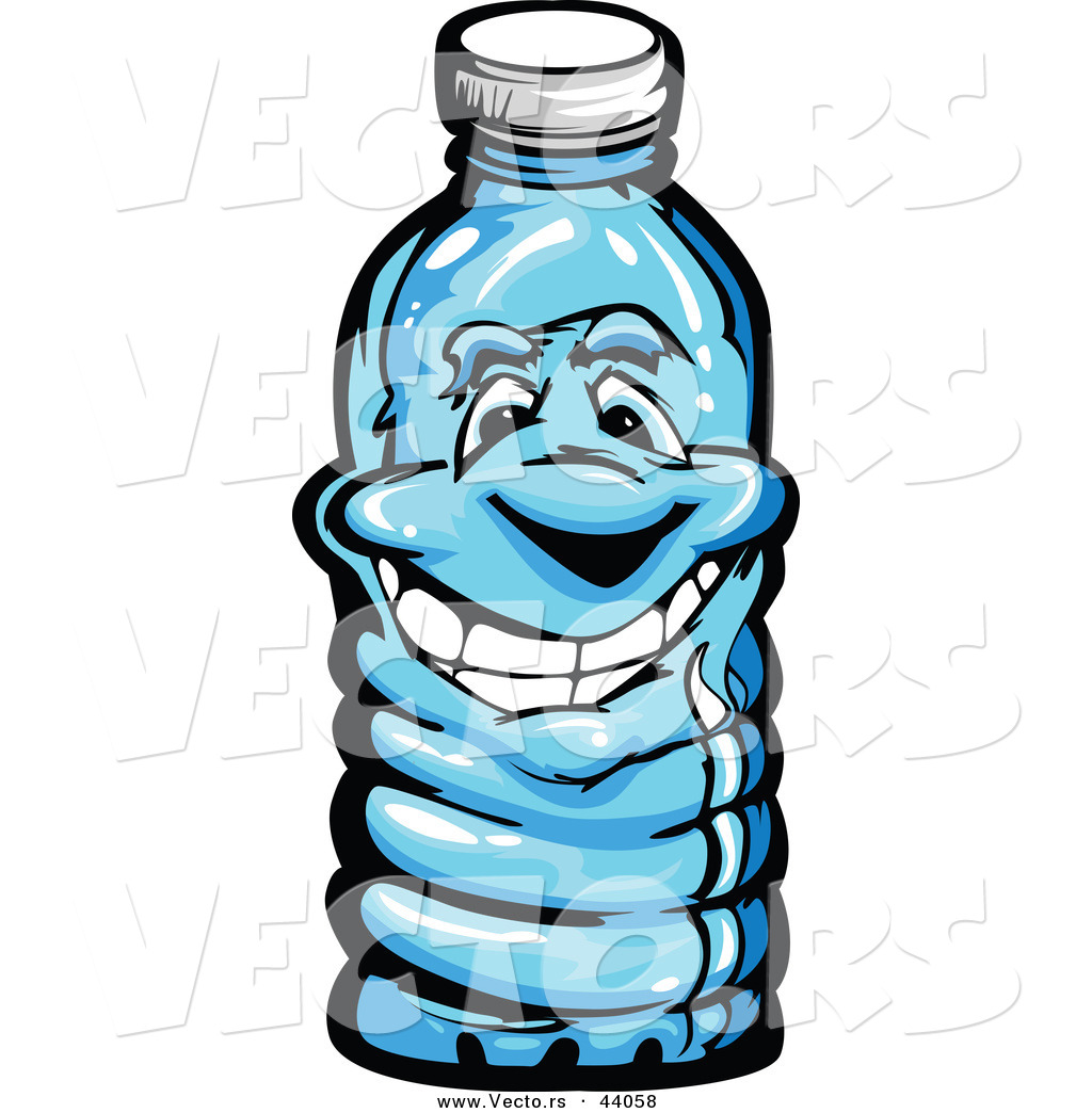 1024x1044 Vector Of A Happy Cartoon Plastic Water Bottle Mascot By Chromaco