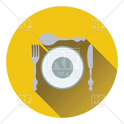 400x400 Flat Design Of Silverware And Plate Icon Royalty Free Vector Clip