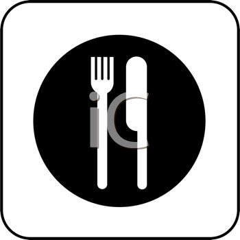 350x350 Picture Of A Knife And Fork On A Plate In Vector Clip Art