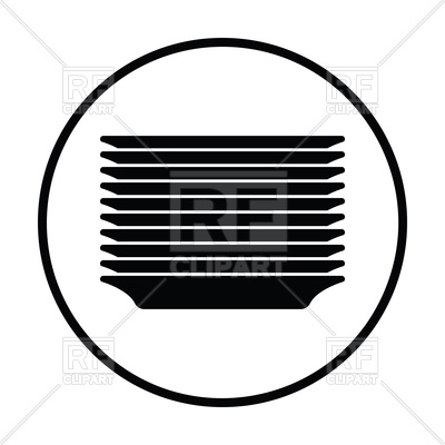 400x400 Plate Stack Icon Royalty Free Vector Clip Art Image