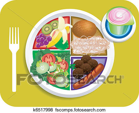 450x367 Clip Art Of Food My Plate Lunch Portions K6517998