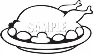 300x176 Art Image Black And White Turkey On A Plate