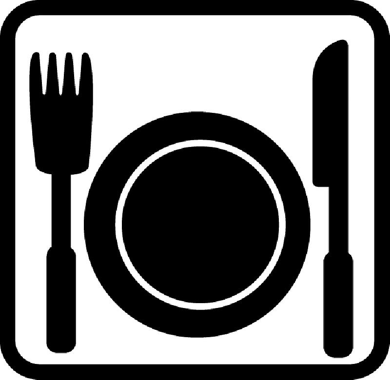 800x781 Building, Sign, Black, Flat, Icon, Food, Menu, Plate