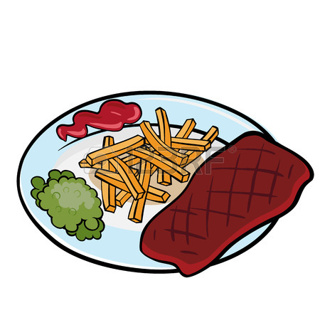 450x450 Grilled Steak, French Fries And Vegetables On Salver Plate Under