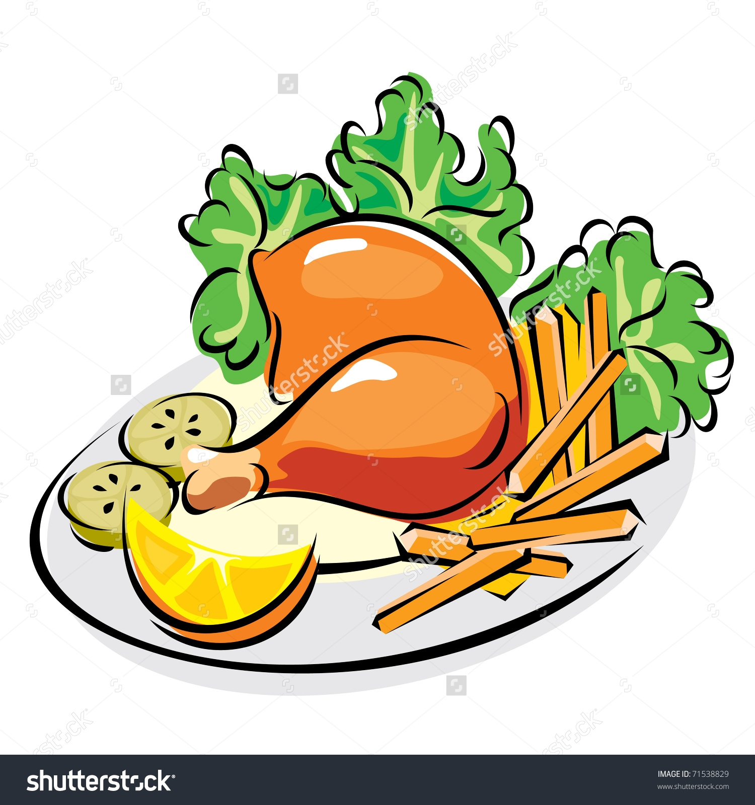 1500x1600 Plate Of Food With Chicken Clipart