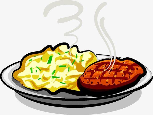 650x489 Cartoon Plate Of Grilled Steak, Steak, Omelette, Food Png Image