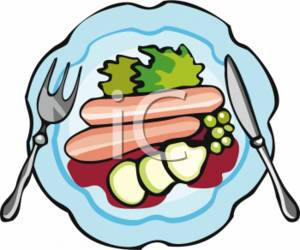 300x250 Clipart Picture Of A Knife And Fork On A Plate Of Food