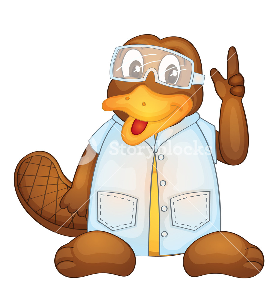 920x1000 Illustration Of A Platypus Wearing A Lab Coat Royalty Free Stock