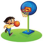 168x170 Clip Art Of Boy Playing Basketball K4779238